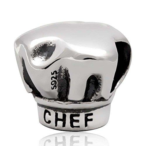 Charm a forma di cappello da chef in argento Sterling 925, per braccialetti Pandora A