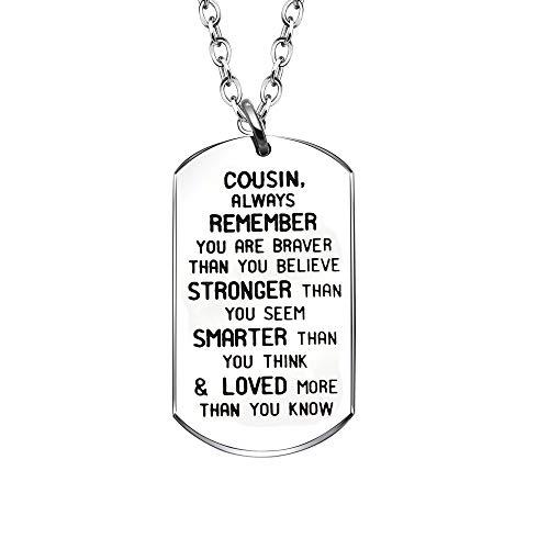 YONGHUI Inspirational Dog Tags Kettingen Voor neef Verjaardag Kerst Sieraden GeschenkenAltijd onthouden Je bent dapper dan je gelooft sterker dan je lijkt slimmer dan je denkt zilver