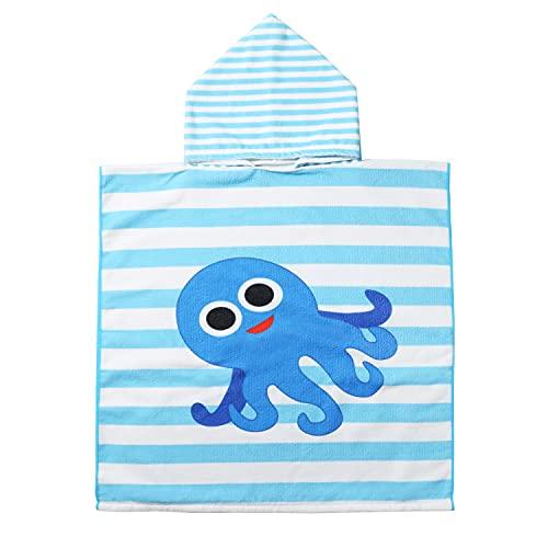 EUFANCE Toalla de baño de Playa con Capucha Toalla de Poncho de Dibujos Animados para niños, Toalla de baño de Dibujos Animados de Secado rápido para niñas / niños (patrón de Pulpo)