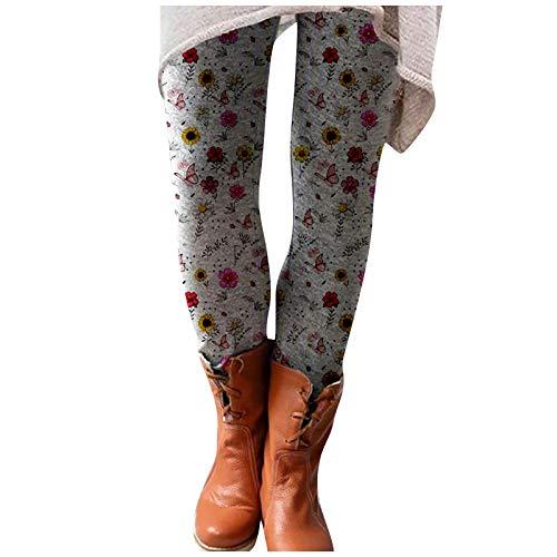 YAAY Leggings ligeros de cintura alta para mujer, diseño de girasol, para adelgazar, de longitud completa