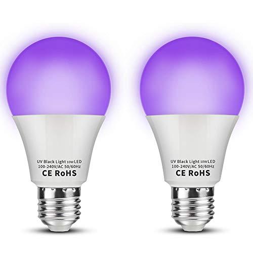 dystaval 10W Lumière Noire, 2 Pack E27 Ampoule UV LED, Lampe