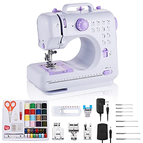 rxmeili Sewing Machine Portable mini Electric Sewing Machine for beginners 12 Built-in Stitches 2 Speed with Foot Pedal,Light, Storage Drawer