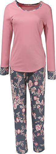 Rösch Damen-Schlafanzug Single-Jersey rosé/grau Größe 48