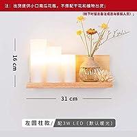 壁面ライト ソリッドウッドウォールランプ付きジッパースイッチガール子供のベッドルームベッドルームベッドサイドランプウォールランプ、ドライフラワー、色には適していません3W LED電球を、送信する:プラグワイヤ、緑の植物に適していません (Color : Get 3w Led)