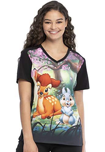 Tooniforms Cherokee V-Neck Kasack, Schlupfhemd mit Motiv Bambi (L)