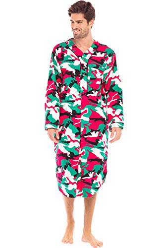Alexander Del Rossa Men's Warm Flannel Sleep Shirt, Long Henley Nightshirt Pajamas, Medium Christmas Camouflage (A0471N26MD)