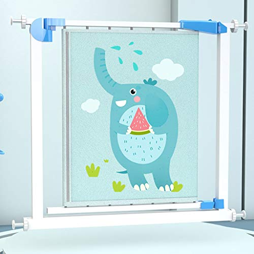 LXYA 2021 New Cute Elephant Cartoon Pattern Baby Safety Protective Gate, Easy To Roll And Latch For Stairways & Hallways, Indoor & Outdoor (Color : Blue)