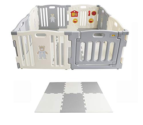 Laufgitter Krabbelpark Laufstall grau/creme aus Plastik mit interaktiver Spieltafel und Sicherheitstörchen, mit Puzzlematten