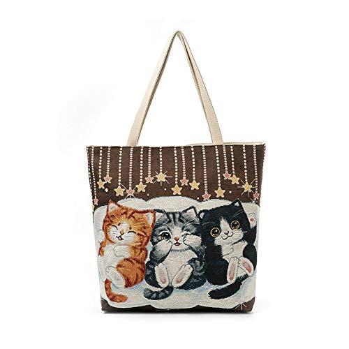 DaoRier Strandtasche Personalisierte Cartoon Katze mit Reißverschluss für Damen Shopper Tasche Einkaufstasche Student Tasche