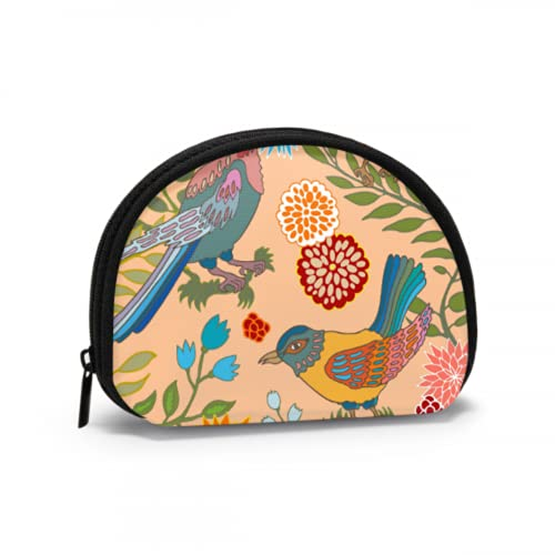 Cute Coin Purse For Teen Girls Kawaii Japanese Garden Flowers and Birds Coin Purses For Women Money Coin Purse with Zipper Mini Cosmetic Makeup Bags For Women Girls Party Gifts and Decorations