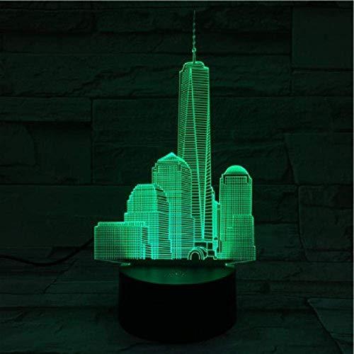 Luz nocturna 3D ilusión Lámparas de decoración Empire State Building regalo de cumpleaños para jóvenes, niñas Con interfaz USB, cambio de color colorido