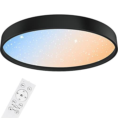 Anten NIGHTSKY   Plafón led techo 36W con mando a distancia y efecto starlight   Negro   Ø 39cm   regulable y blanco cálido a luz de día ajustable   lámpara techo para habitacion salón dormitorio  .