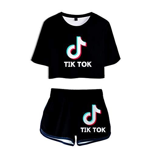 HGUIAZ TIK TOK Imprimiendo Camisetas Y Pantalones Cortos, Ropa Corta, Traje De Dos...