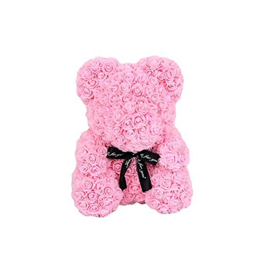 NUOBESTY 1Pc Künstliche Rose Bär 25Cm Rose Bär Simulierte Rose für Immer Blume Ewige Bär Liebe Herz Schaum Rose Dekor Pe Schaum Rose Bär Geschenk für Valentinstag Hochzeit Datum - Rosa