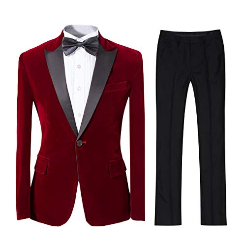 Mens 2-piece Suit Peaked Lapel One Button Tuxedo Slim Fit Dinner Jacket & Pants, Red, Medium