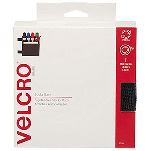VELCRO Brand - Sticky Back Hook and Loop Fasteners  Perfect for Home or Office   15ft x 3/4in Tape   Navy