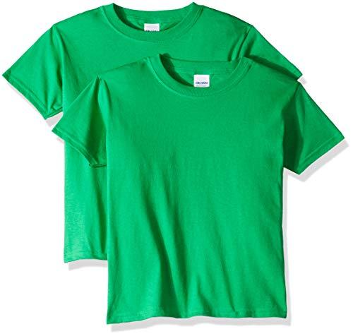 Gildan unisex child Heavy Cotton Youth T-shirt, 2-pack T Shirt, Irish Green, Small US