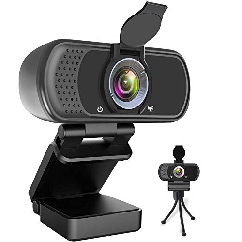 Webcam HD 1080P,Webcam with Microphone, USB Desktop Laptop Camera with 110 Degree Widescreen,Stream Webcam for Calling, Recording,Conferencing, Gaming,Webcam with Privacy Shutter and Tripod
