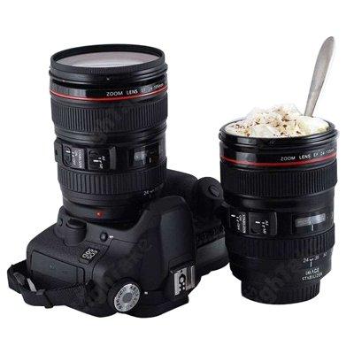 ジュルイライフ コーヒーカップマグユニークなプラスチックのシミュレーションダミーズームレンズ(EF24-105mm G / 4 USM) (Color : Black)