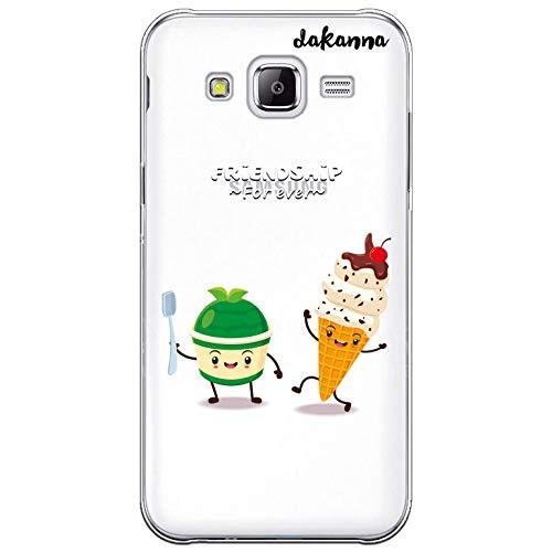 dakanna Custodia Compatibili con [Samsung Galaxy J5] Sfondo Trasparente con Disegni [Amicizia del Gelato, Friends Forever] in Morbida Silicone TPU Flessibile, Shell Case Cover in Gel per Smartphone