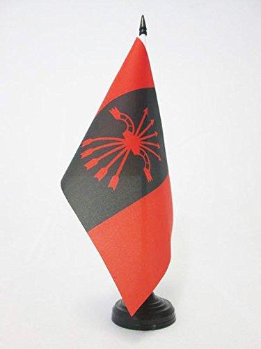 AZ FLAG Bandera de Mesa de la FALANGE ESPAÑOLA DE Las JONS 21x14cm - BANDERINA de DESPACHO del FALANGISMO 14 x 21 cm