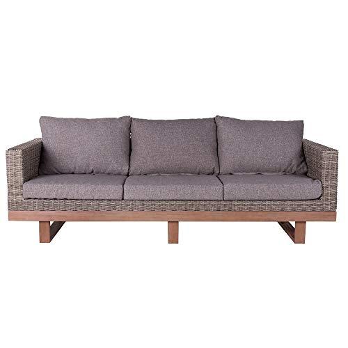 LOLAhome sofá de Rattan Gris de 3 plazas para jardín y Exterior Garden