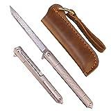 Samior GD035 Small Slim Folding Pocket Flipper Knife, 3.5 inches VG10 Damascus Tanto Blade, Slender Grey Titanium Handle Frame Lock Pocket Clip, Sleek EDC Low Profile Gentleman's Pen Knives