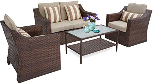 Skiway 4 Pcs Outdoor Furniture Sofa Sets, Patio Conversation Sets, All-Weather Brown Ratten Wicker Chairs with Glass Top Table & Beige Cushions
