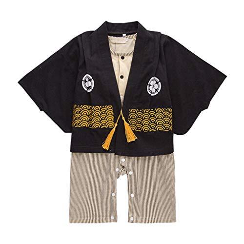 Bebé Kimono Mamelucos Algodón Mono - Niño de Manga Larga Bata Chicas Trajes de Estilo Japonés (Negro)