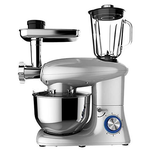 Batidora Amasadora Multifuncional Robot de Cocina, Amasadoras Reposteria con Bol de Acero Inoxidable de 5,5 L, Picadora, Licuadora, embutidoras de salchichas, 1400W, 6+P+0 Velocidades ,White