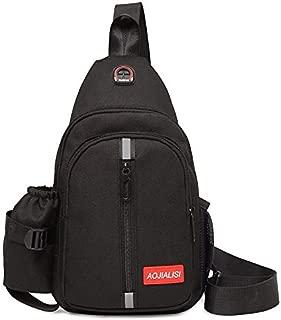 Fashion Single-Shoulder Bags Multi-Function Portable Casual Chest Bag Outdoor Sports Shoulder Bag with Earphone Line Hole (Black) (Color : Black)
