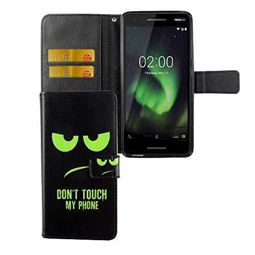 König Design Handyhülle Kompatibel mit Nokia 2.1 Handytasche Schutzhülle Tasche Flip Hülle mit Kreditkartenfächern - Don't Touch My Phone Grün Schwarz