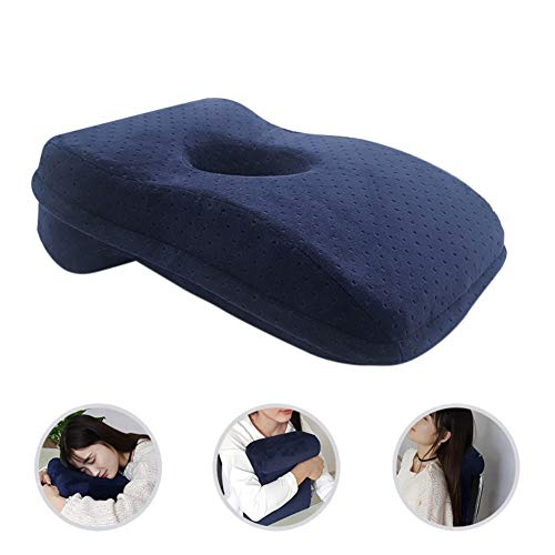 Inicio Cojín de Almohada para Dormir La Siesta Almohada de Espuma de Memoria de Carbón de Bambú Escritorio de Oficina Diseño Hueco Almohada de Siesta para Dormir Boca Abajo