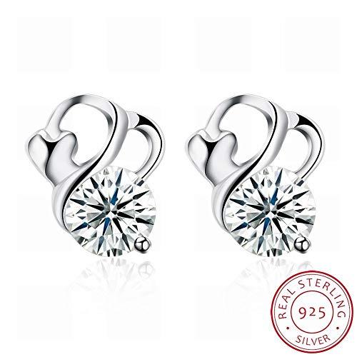 Een paar modetrendy oorringen dames zilveren oorbellen klein en zacht/roestvrij staal/hypoallergeen/zilverglitter/diamant/wit kristal nieuw sieraad Verführerisch Als te laten zien.