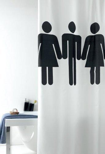 wohnideenshop Duschvorhang Toilettenmenschen 120cm breit x 200cm lang Textil weiß schwarz +Ringe