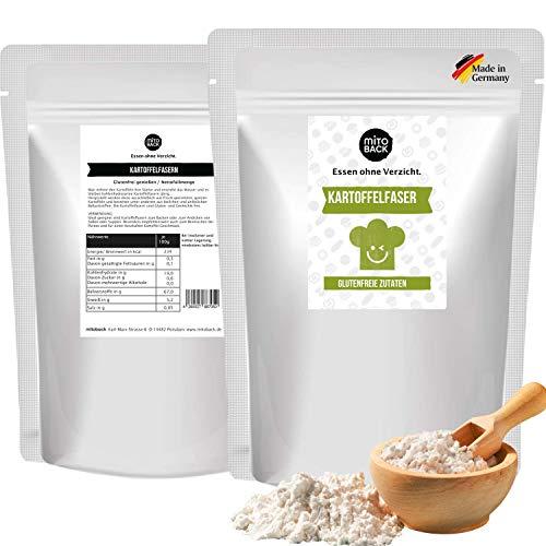 MITOBACK - 100% Kartoffelfasern 3 x 250 g Premiumqualität (Aus deutschen Kartoffeln) - Kartoffel Fasern ideal zum Backen für Brot & Backwaren - Kartoffelfasermehl (Low Carb, Keto, Vegan, Glutenfrei)