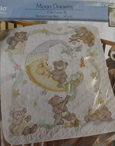 Plaid Bucilla Moon Dreams Crib Cover Stamped Quilt Cross Stitch Kit #45301