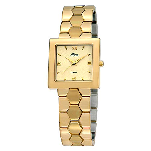 Reloj Lotus 17000/C Chapado en Oro Amarillo en Brillo y Mate Cuadrado