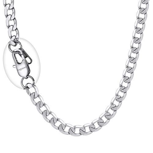 PROSTEEL Herren Kette Collier Edelstahl 46cm/18 in. Panzerkette Halskette 6mm breit Gliederkette mit personalisiert Verschluss Männer Jungen