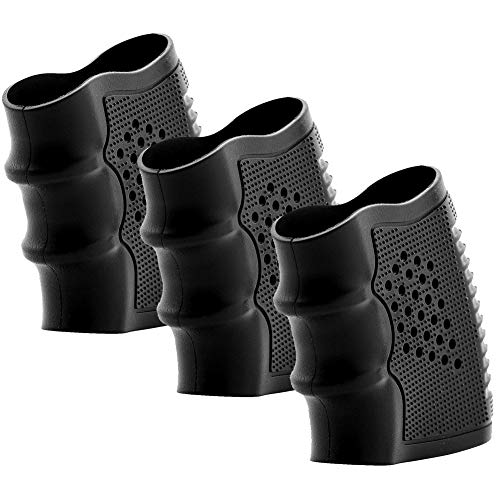 Fidragon Tactical Rubber Grips Glove Sleeve Slip-On Ventilated Grip Grips for Glock and Oher Pistol 3 Pcs Black