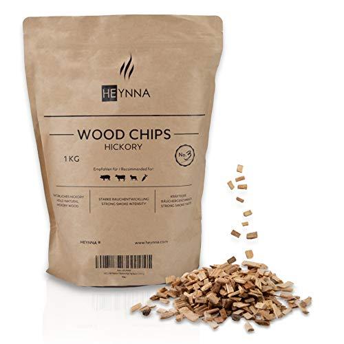 HEYNNA® Premium Räucherchips Hickory 1kg Beutel 100% natürliches Hickory Holz - Räucherspäne für kräftigen Räuchergeschmack
