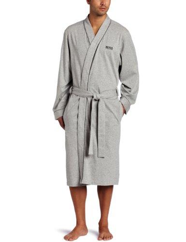 Hugo Boss Herren Kimono Robe Bademantel, Grau mit Schwarz, Small