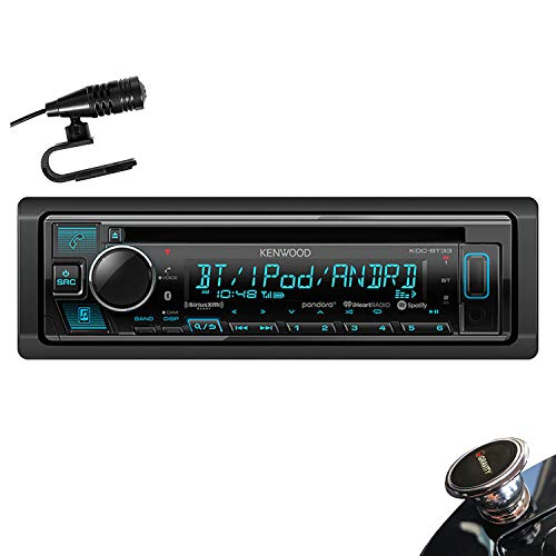 Kenwood KDC-BT33 Single DIN SiriusXM Ready Bluetooth in-Dash CD/AM/FM Car Stereo Receiver w/Pandora, Spotify Control + Gravity Magnet Holder