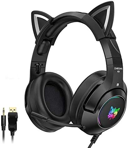Stereo Gaming Headset with Mic for PS4 PS5 Xbox One PC Mobile Phone Detachable Cat Ear Headphones product image