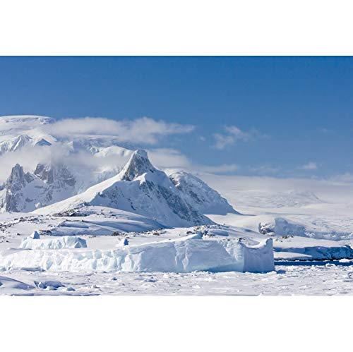 CSFOTO 7x5ft White Snow Mountain Backdrop Melting Glaciers Blue Sky Clouds Winter Snow Mountain Background for Photography Christmas Party Decor Banner Adults Kids Xmas Photo Backdrop