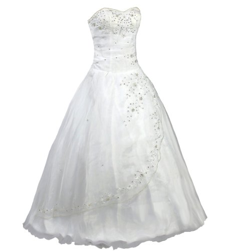 FairOnly White Strapless Formal Wedding Dress Prom Gown (L)