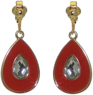 PLUNKSNA Gold plated Red Crystal Clip On Earrings