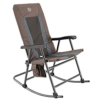 TIMBER RIDGE Foldable Padded Rocking Chair for Outdoor, High Back and Heavy Duty, Portable for Camping, Patio, Lawn, Garden, Yard or Balcony-Supports up to 300lbs (Brown)
