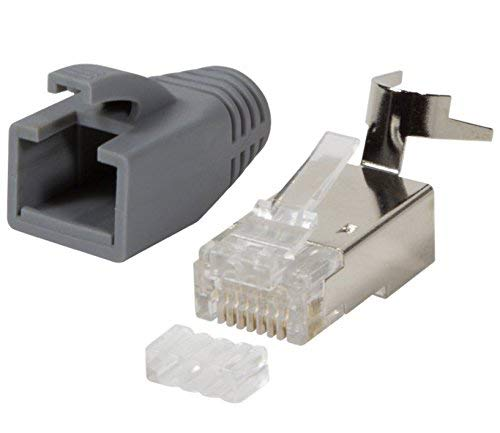 odedo® 10 Unidades Crimp Conector Gris Cat 7, Cat 7 a, Cat 6 A para – hasta 8 mm 10 Gbit Gigabit Ethernet Starre o Flexible Conductores 1.2 mm de 1.45 mm RJ45 Conector Metal