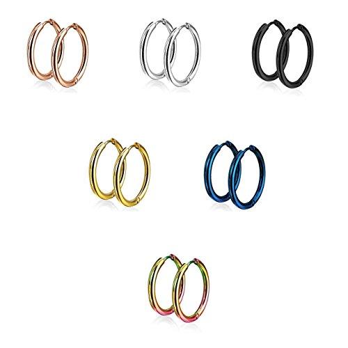 beyoutifulthings Damen 1 Paar Creolen Ohr-ringe Set Chirurgenstahl Klickverschluss Seamless Line silber schwarz blau roségold gold regenbogen 14mm